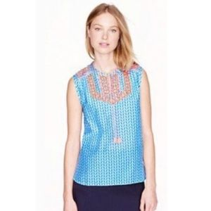 J. Crew Blue & Neon Pink Embroidered Tunic Tank